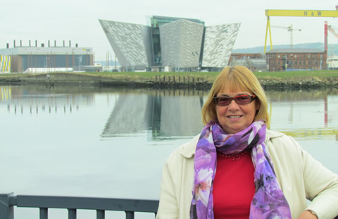 Heather MacQuarrie in front of Titanic Belfast, Harland and Wolff & Game of Thrones Studios